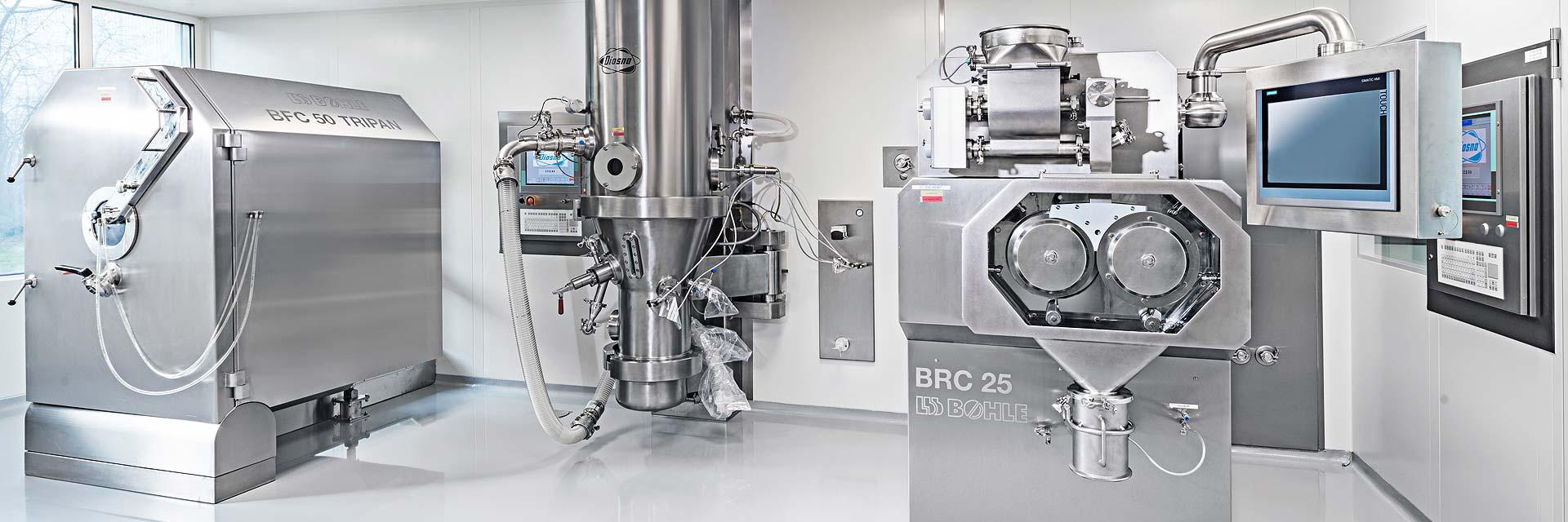 CordenPharma Oral Formulation Tablets & Capsules production mixers including L.B. Bohle BRC 25 dry granulator (roller compactor)