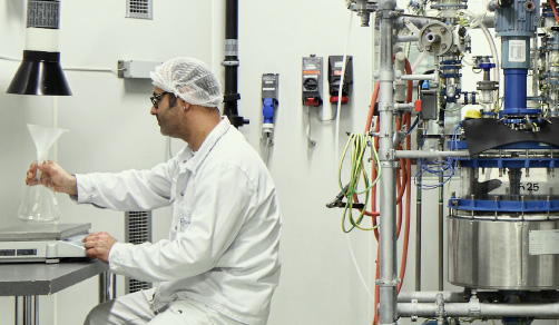 CordenPharma Lipids & Carbohydrates APIs technician processing APIs into a flask near 25 L reactor in a synthetic phospholipid kilo lab suite