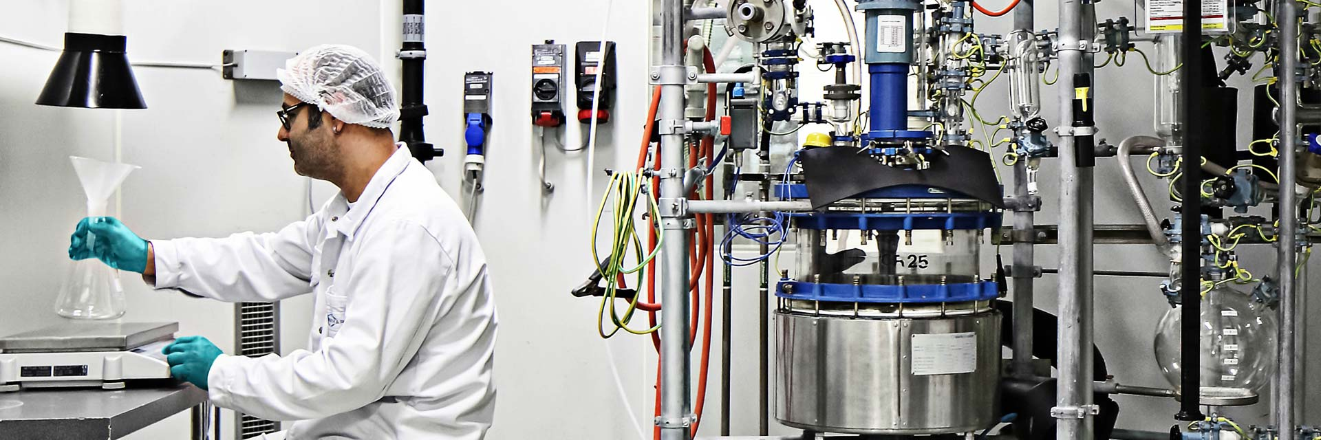 CordenPharma Lipids & Carbohydrates APIs technician processing APIs into a flask near 25 L reactor in a synthetic phospholipid kilo lab suite