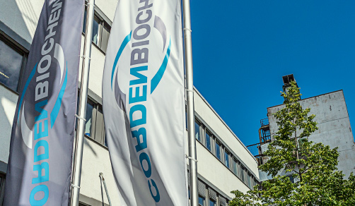 CordenBioChem facility with corporate flags