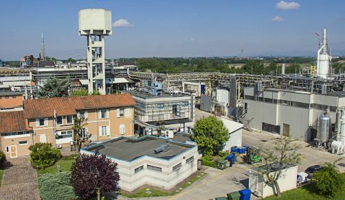 CordenPharma Bergamo, IT, facility aerial view for Capacities header
