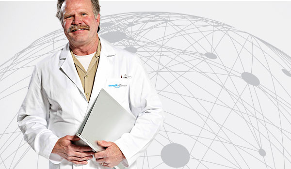 CordenPharma scientist holding report binder for Resource Library header with white global connectivity background