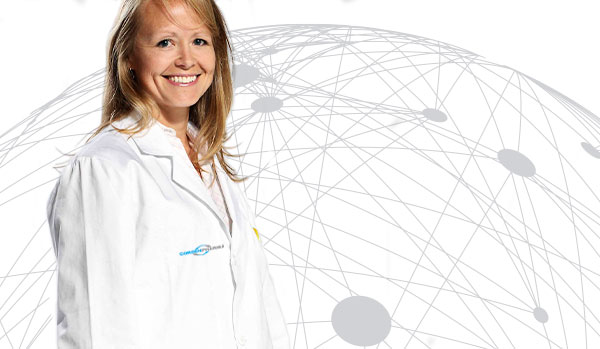 CordenPharma scientist in lab coat for Compliance header with white global connectivity background