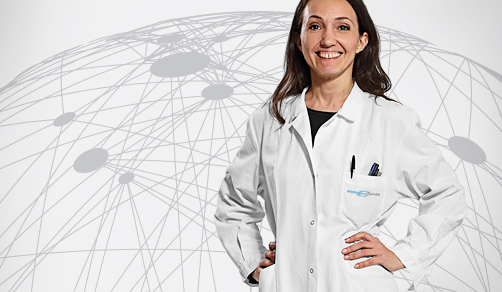 CordenPharma scientist in lab coat for Contact Us header with white global connectivity background