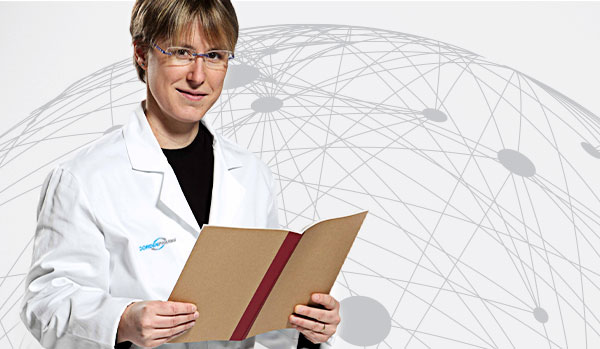 CordenPharma scientist in lab coat holding report for ICIG header with white global connectivity background