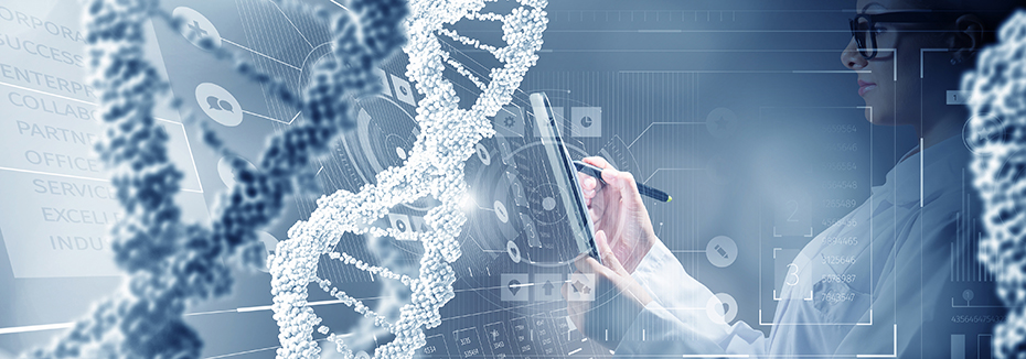 CordenPharma white & blue collage of scientist writing on tablet overlaid with three DNA strands & motivational text