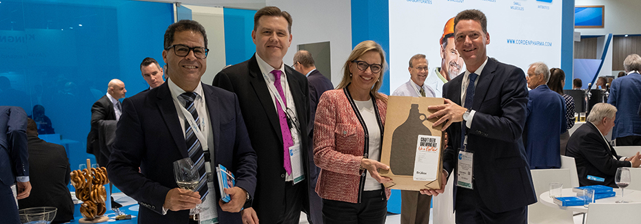 Image showing:  Zealand Pharma receiving craft beer brewing kit winning prize at CordenPharma's CPhI 2019 Beer Masterclass