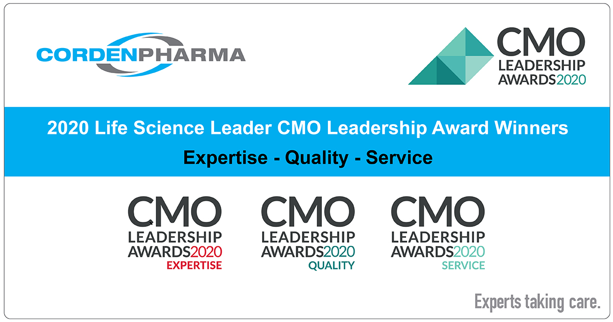 CordenPharma Wins 2020 Life Science Leader Awards for Expertise, Quality & Service