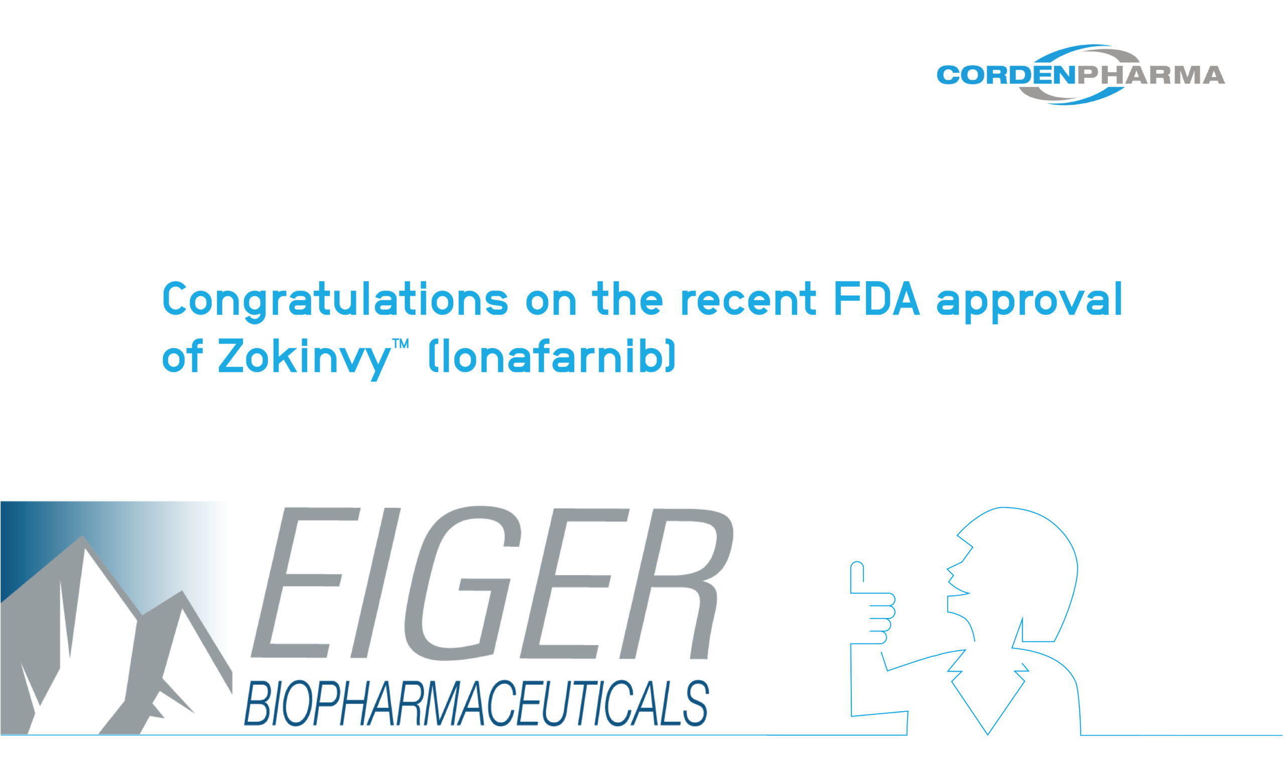 CordenPharma congratulates Eiger BioPharmaceuticals on their recent FDA Approval of Zokinvy