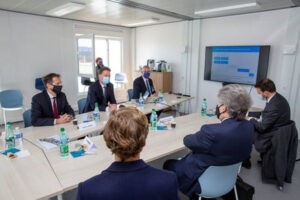 CordenPharma Executives and EU Commissioner Thierry Breton meet on April 4, 2021.