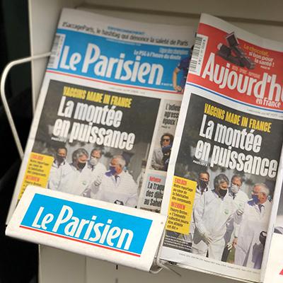 Le Parisien Front Cover Thierry Breton at CordenPharma Chenôve on April 4, 2021