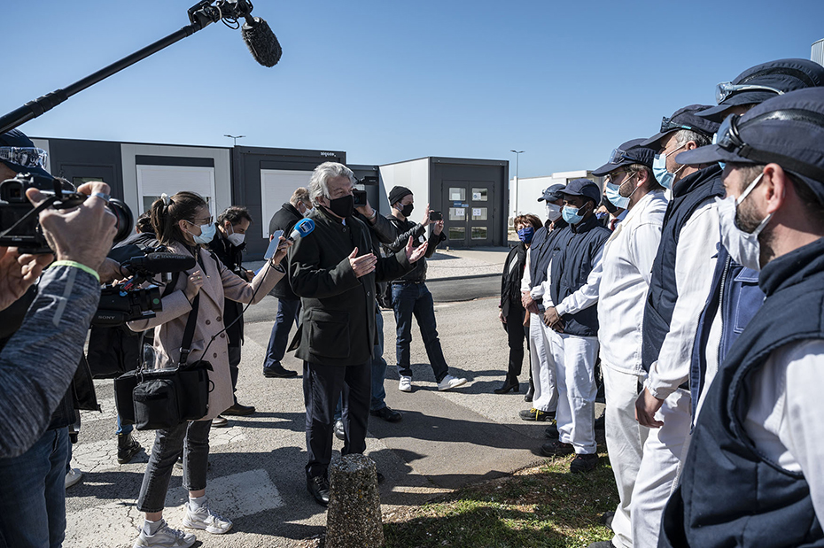 The European Commissioner Thierry Breton visits CordenPharma Chenôve in Longvic - Cote d'Or, France on April 4, 2021.