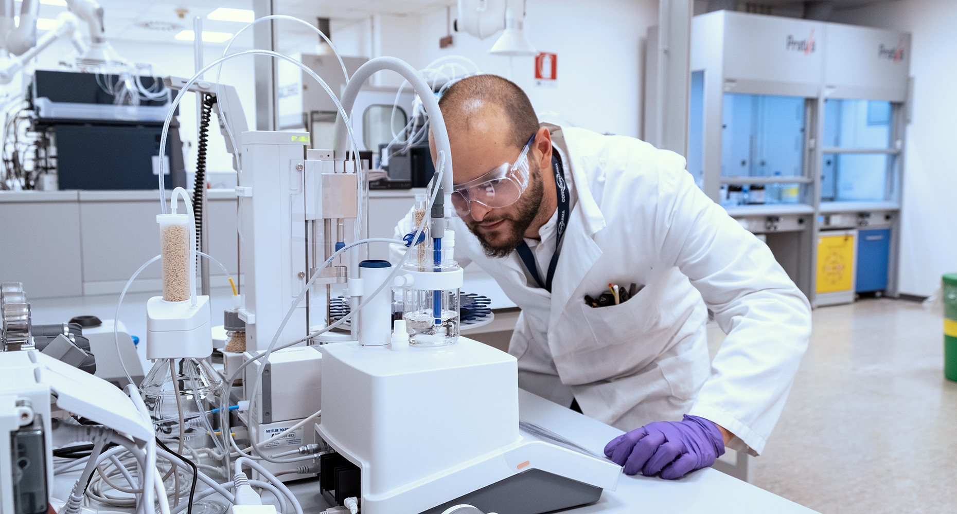 R&D scientist working with lab equipment at CordenPharma Caponago in Italy